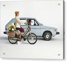 Man Driving Car And Woman Riding Acrylic Print