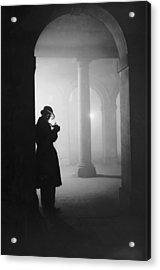 Man In Fog Acrylic Print by Arthur Tanner