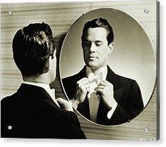 Man In Tuxedo Adjusting His Bowtie 1940 Acrylic Print