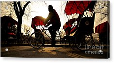 Man Riding A Rickshaw Acrylic Print