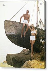 Man Sitting Boat, Woman Standing Beside Acrylic Print
