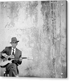 Man Sitting, Playing Guitar, Portrait Acrylic Print