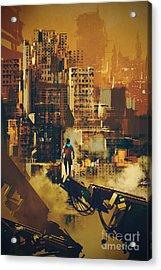 Man Standing On Futuristic Acrylic Print