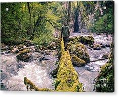 Man Traveler Crossing River On Log Acrylic Print