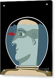 Man With A Head Inside An Aquarium With Acrylic Print