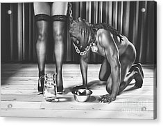Man With Mask On His Knees Beside His Mistress Acrylic Print