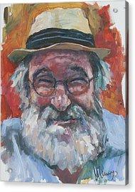 Man With Yellow Hat Acrylic Print