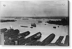 Manhattan Docks On The Hudson River Acrylic Print