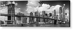 Manhattan Skyline And Brooklyn Bridge Panorama Monochrome Acrylic Print by Melanie Viola