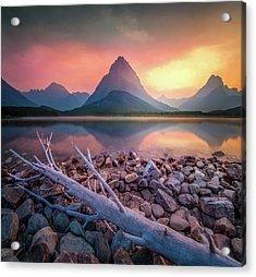 Many Glacier Sunset / Swiftcurrent Lake, Glacier National Park  Acrylic Print