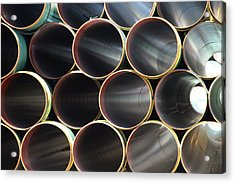 Many Steel Pipes In Large Stack Acrylic Print