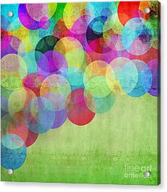 Many Vivid Color Circles On A Green Acrylic Print