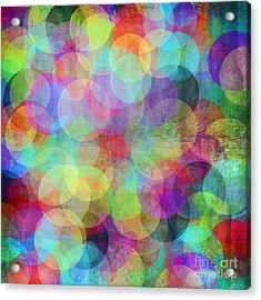 Many Vivid Color Circles On A Grunge Acrylic Print