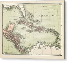 Map Od The Caribbean 1860 Acrylic Print