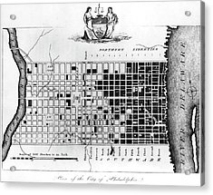 Map Of Colonial Philadelphia Acrylic Print by Hulton Archive
