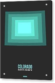 Map Of Colorado Teal Acrylic Print