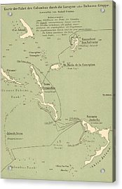 Map Of Columbus Route In Bahamas Acrylic Print by Kean Collection