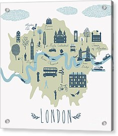 Map Of London Attractions Acrylic Print