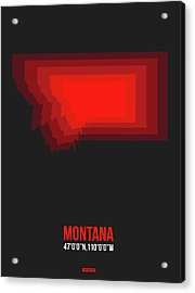 Map Of Montana Red Acrylic Print