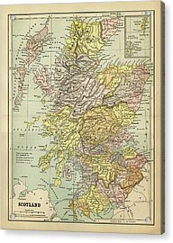 Map Of Scotland 1883 Acrylic Print by Thepalmer