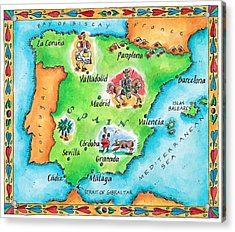 Map Of Spain Acrylic Print by Jennifer Thermes