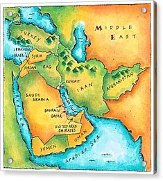 Map Of The Middle East Acrylic Print by Jennifer Thermes