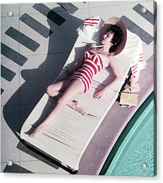 Mara Lane At The Sands Acrylic Print by Slim Aarons