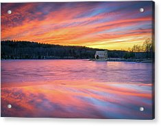 March Sunset At The Old Stone Church Acrylic Print