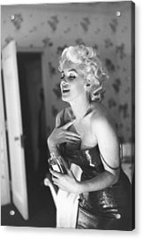 Marilyn Monroe With Chanel No. 5 Acrylic Print by Michael Ochs Archives