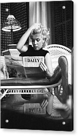 Marilyn Relaxes In A Hotel Room Acrylic Print by Michael Ochs Archives