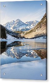 Acrylic Print featuring the photograph Maroon Bells Reflection Winter by Nathan Bush