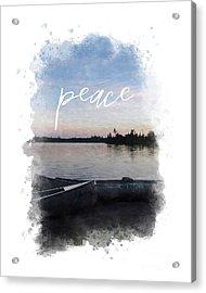 Masculine Wall Art, Peaceful Canoe At Sunset By Lake Acrylic Print