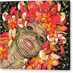 Mask Freckles And Flowers Acrylic Print