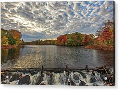 Acrylic Print featuring the photograph Massachusetts Fall Foliage At Mill Pond by Juergen Roth