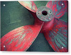 Massive Propeller Distressed Red Acrylic Print by Peskymonkey