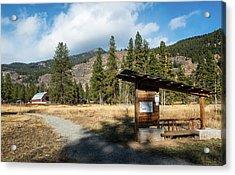 Mazama Barn Trail And Bench Acrylic Print