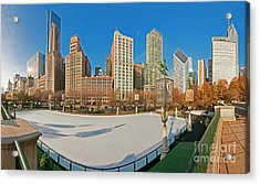 Mccormick Tribune Plaza Ice Rink And Skyline   Acrylic Print
