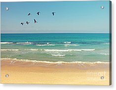 Mediterranean Sea And Sand Beach Acrylic Print by Protasov An