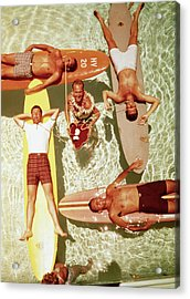Men On Surfboards In Pool Sipping Drinks Acrylic Print