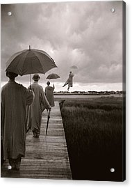 Men With Umbrellas Flying  Into Sky Acrylic Print by Bryce Lankard