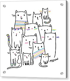 Meow Kitties - Baby Room Nursery Art Poster Print Acrylic Print