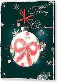 Acrylic Print featuring the photograph Merry Christmas Ribbon Ornament by Rachel Hannah