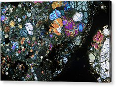 Meteorite Thin Section In Cross Acrylic Print