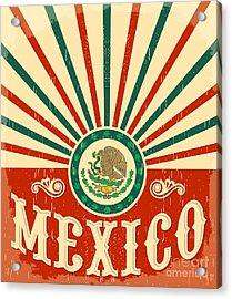 Mexico Vintage Patriotic Poster - Card Acrylic Print