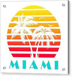 Miami 80s Tropical Sunset Acrylic Print
