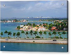 Miami Mac Arthur Causeway En Route To Acrylic Print