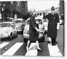 Michele Morgan Crossing A Street In Acrylic Print by Keystone-france