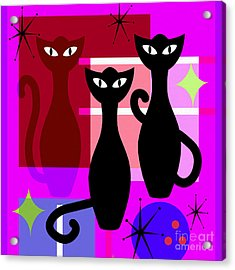 Mid Century Modern Abstract Mcm Bowling Alley Cats 20190113 Square M103 Acrylic Print