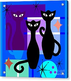 Mid Century Modern Abstract Mcm Bowling Alley Cats 20190113 Square M180 Acrylic Print