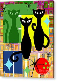 Mid Century Modern Abstract Mcm Bowling Alley Cats 20190113 V2 Acrylic Print